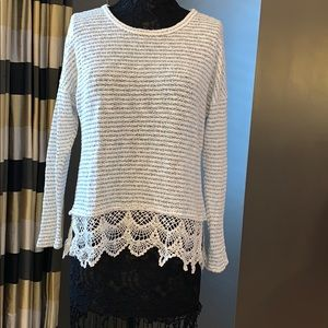 Cream & Black Striped Sweater with Lace Bottom